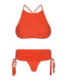 Red bikini, crop top and skirt style bottom - AMBRA JUPE URUCUM