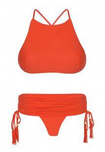 Bikini top crop rojo con braguita estilo faldita - AMBRA JUPE URUCUM