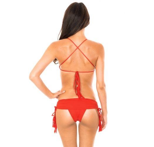 Bikini crop czerwone, dół spódniczka - AMBRA JUPE URUCUM