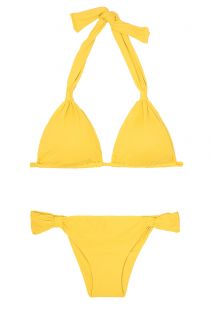 Yellow sliding triangle scarf bikini - AMBRA MEL MELON