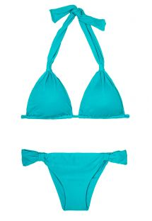 Bikini a triangolo foulard azzurro scorrevole - AMBRA MEL NANNAI