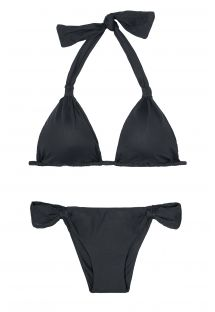 Black triangle halter top bikini, low-cut bottoms  - AMBRA MEL PRETO