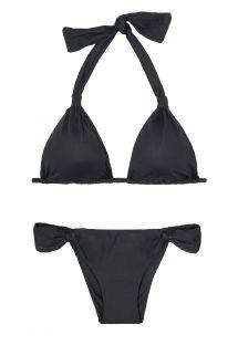 Black triangle halter top bikini, low-cut bottoms - AMBRA MEL PRETO