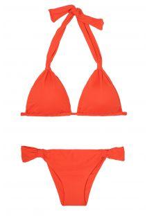 Kırmızı fularlı üçgen, festone altlı bikini - AMBRA MEL URUCUM