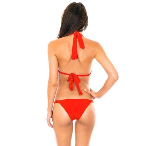 Red triangle halter top bikini, low-cut bottoms - AMBRA MEL URUCUM