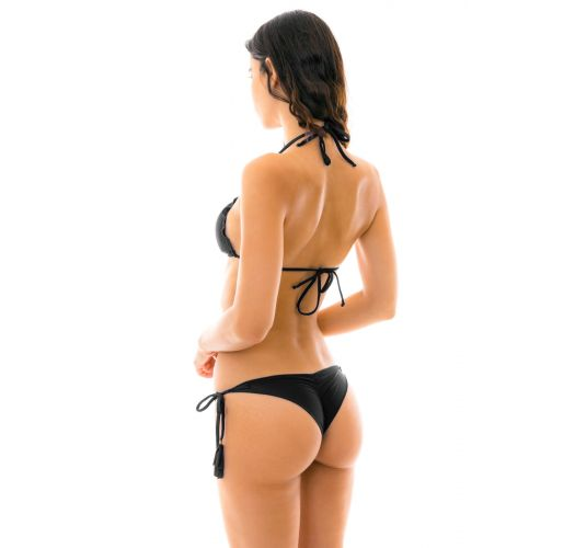 Black scrunch bikini with tassels and wavy edges - AMBRA PRETO EVA