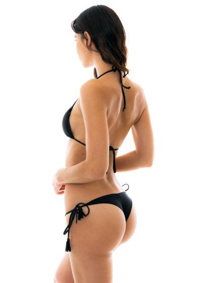 Black string side-tie bikini wavy edges - AMBRA PRETO EVA MICRO