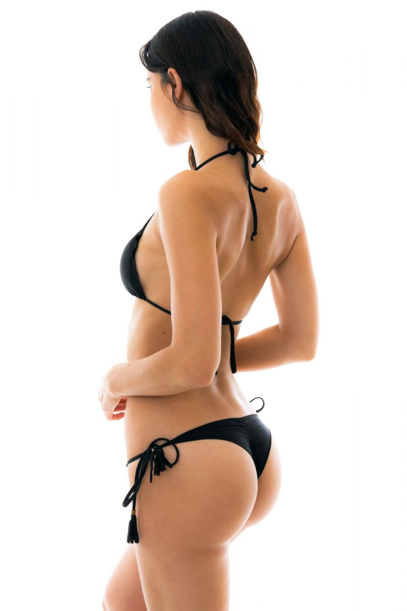 Svart, rynkad string bikini med pompoms - AMBRA PRETO EVA MICRO