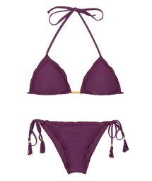 Brazilian bikini scrunch plum with pompoms - AMBRA SUBLIME FRUFRU