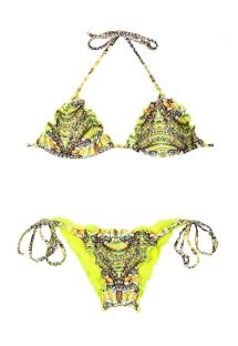Trójkątne bikini z żółtym, fluorescencyjnym nadrukiem i marszczonymi figami - ATOBA