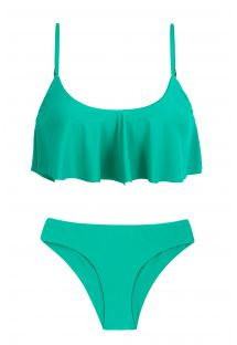 Frilled green bikini with fixed scrunch bottom - BAHAMAS BABADO