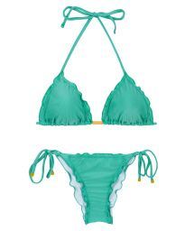 Bikini brésilien scrunch vert bords ondulés - BAHAMAS FRUFRU