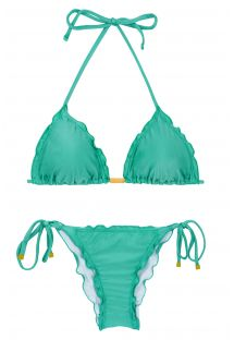Green side-tie scrunch bikini wavy edges - BAHAMAS FRUFRU