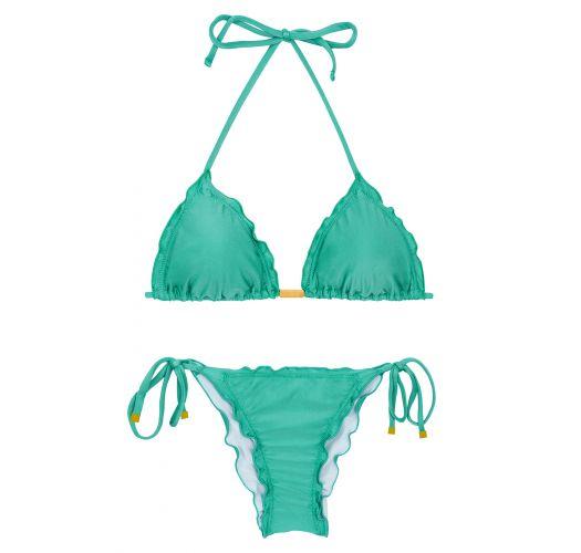 グリーンのサイド結び波状縁スクランチビキニ - BAHAMAS FRUFRU