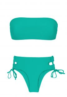 Green larger side Brazilian bikini with bandeau top - BAHAMAS RETO