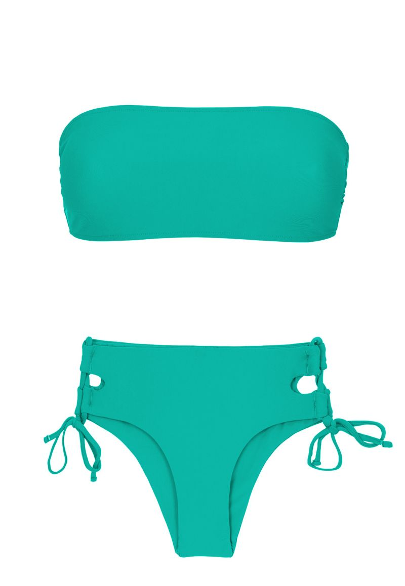 Green larger side Brazilian bikini with bandeau top - BAHAMAS RETO
