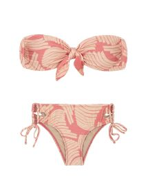 Pink print larger-side laced Brazilian bikini with bandeau top - BANANA ROSE BANDEAU