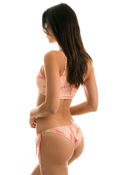 Rosa gemusterter verstellbarer Bustier Bikini - BANANA ROSE BRA