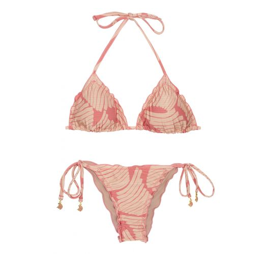 Side-tie scrunch bikini with pink banana print - BANANA ROSE FRUFRU