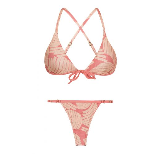 Pale pink rose bra bikini with adjustable string bottom - BANANA ROSE MICRO