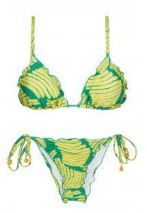 Side-tie scrunch bikini with green  banana print - BANANA YELLOW FRUFRU