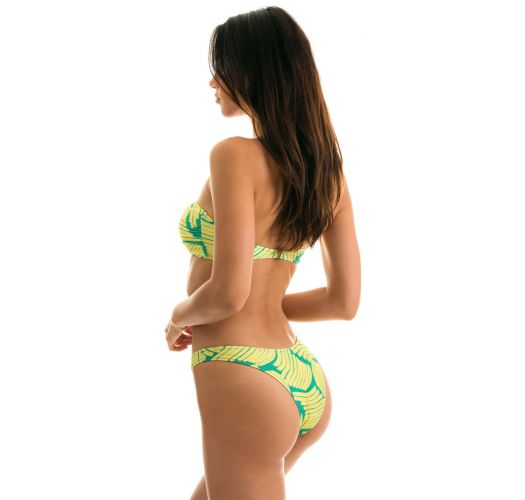 Green banana print fixed bikini with bandeau top - BANANA YELLOW BANDEAU