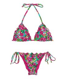 Scrunch bikini wavy edges in colorful floral print - BEACH FLOWER FRUFRU