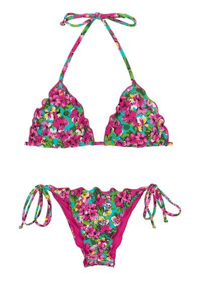 Rynkad bikini med vågiga kanter i färggrant blommigt tryck - BEACH FLOWER FRUFRU