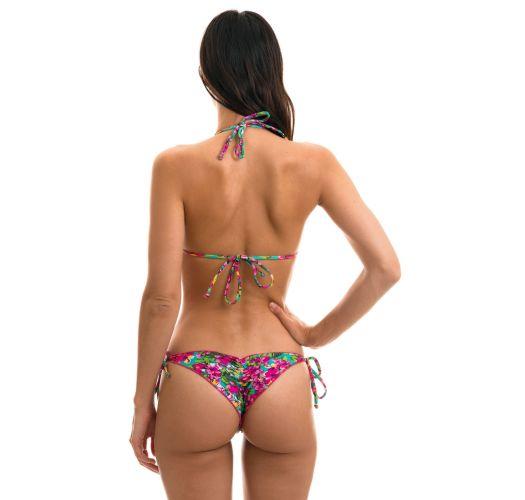 Scrunch bikini wavy edges in colorful floral print - BEACH FLOWER FRUFRU