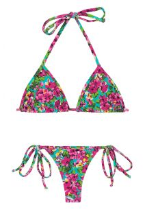 Bikini string à nouer imprimé fleuri coloré - BEACH FLOWER MICRO