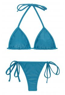Side-tie blue string bikini with sliding triangle top - BEACH NILO MICRO