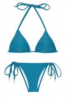 Azurblauer Brazilian Bikini, Seitenschnüre - BEACH NILO ROLOTE