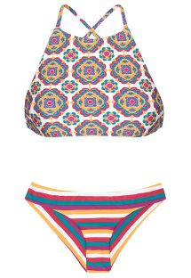 Retro and striped crop top bikini with a mixture of prints - BEIRA RIO SPORTY