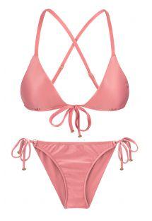 Scrunch-Bikini pfirsichrosa, Seitenschnüre - BELLA ARG COMFORT