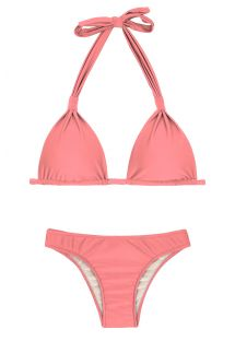 Bikini triangle foulard coulissant rose pêche - BELLA CORTINAO