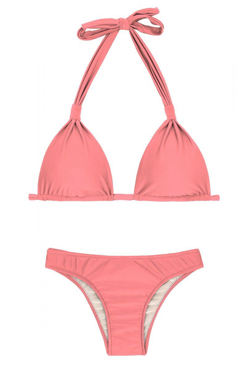 Бикини персико-розового цвета со скользящими треугольными чашечками фуляр - BELLA CORTINAO
