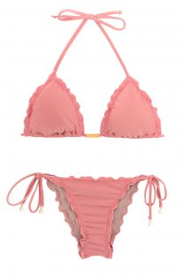 Accessorized pink wavy scrunch bikini bottom - BELLA FRUFRU