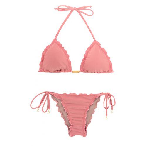 Biquíni brasileiro franzido rosa c/ acessório - BELLA FRUFRU