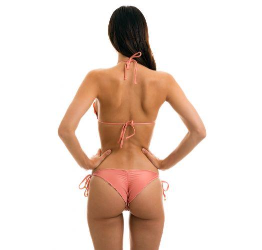 Accessorized pink wavy scrunch bikini bottom - BELLA FRUFRU
