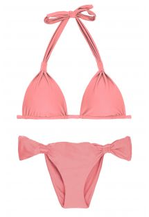 Peach pink sliding bikini with halter top - BELLA MEL