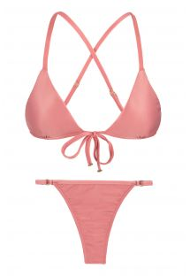 Pink peach adjustable thong bikini - BELLA TRI ARG MICRO