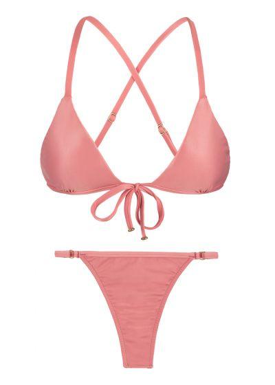 Pink peach adjustable thong bikini - BELLA TRI ARG MICRO