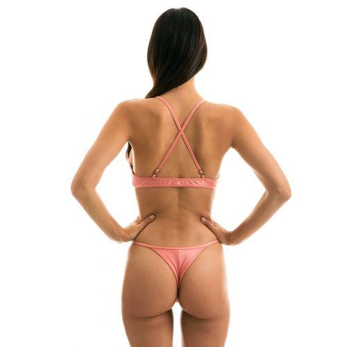 Regulowane na biodrach jasnoróżowe bikini stringi - BELLA TRI ARG MICRO