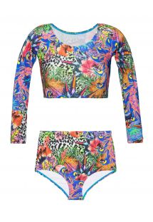 High-waisted tropical print swimsuit - BIGUA TROPICAL