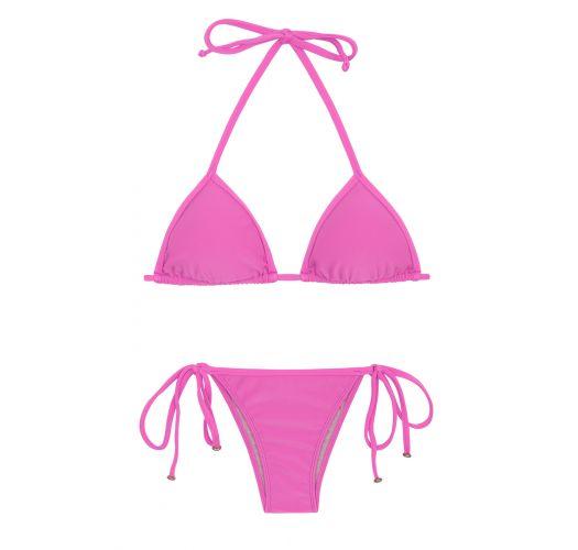 Pink side-tie Brazilian bikini - BIKINI TRI