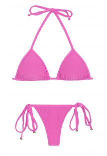 Bikini perizoma con lacci laterali rosa - BIKINI TRI MICRO