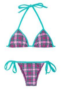 Rosa karierter Bikini mit grünen Schnüren - BIKINI XADREZ