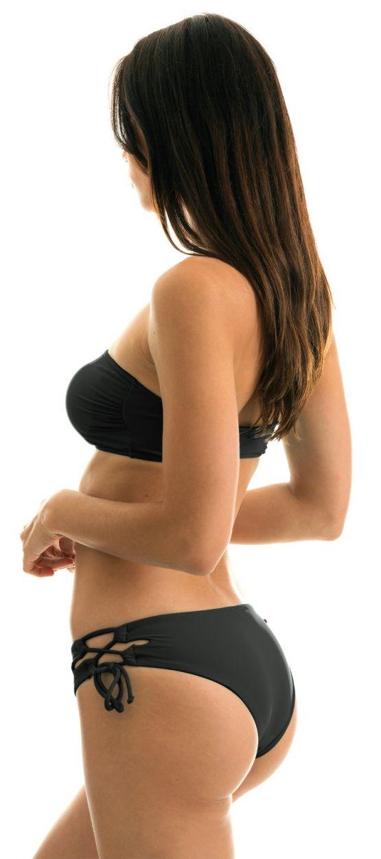 Bandeau-Bikini, Hose mit breiten Seiten - BLACK RETO