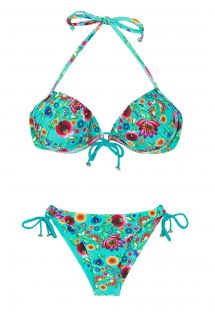 Blåblomstret balconette bikini med push-up effekt - BLOOM BALCONET