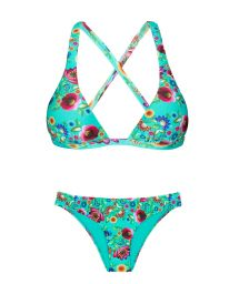 Blue floral print fixed bikini bottom and criss-cross back triangle top - BLOOM CORTINAO